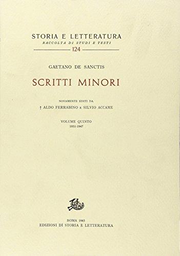 9788884988768: Scritti minori. Vol.V: 1931-1947: Vol. 5