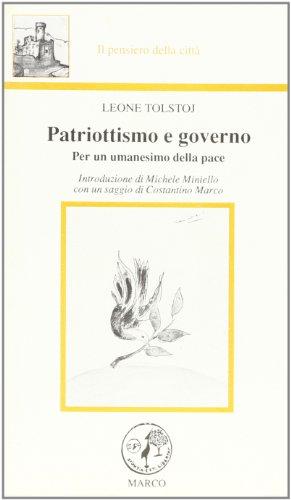 9788885350076: Patriottismo e governo. Per un umanesimo della pace