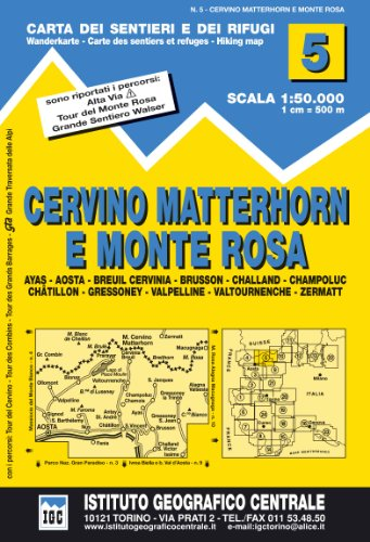 9788896455050: 5 Cervino - Matterhorn E Monte rosa 1: 50.000 (Carta. Valli)