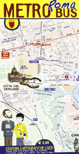 9788896620526: Laminated Rome (Roma) Metro Bus Pocket Map Indispensable! in English by Lozzi Maps (English and Italian Edition)