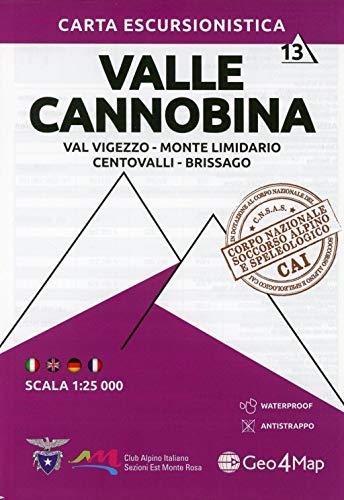 9788899606336: Carta escursionistica Valle Cannobina. Scala 1:25.000. Ediz. italiana, inglese, tedesca e francese (Vol. 13): Val Vigezzo - Monte Limidario - Centovalli - Brissago