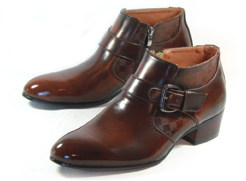 9788963296753: MOODA New LOYWON Men Ankle Boots Oxford Dress Shoes Formal Leather Zipper Brown UK 8 EURO 42