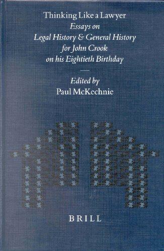 Thinking Like a Lawyer (Mnemosyne Supplements, CCXXXI): MCKECHNIE, Paul (ed)