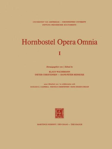 9789024717323: Hornbostel Opera Omnia (Hornborstel Opera Omnia)