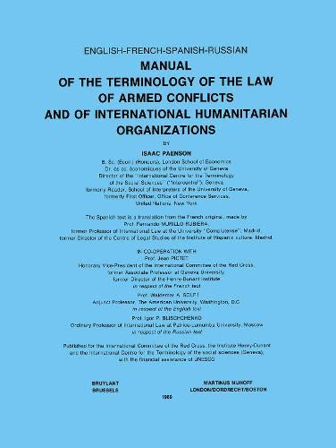 Manual of the Terminology of the Law of Armed Conflicts and of International Humanitarian ...