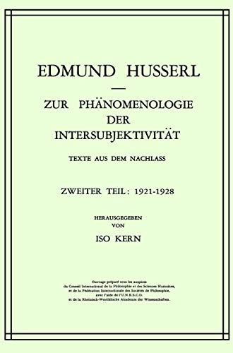 9789024750290: Zur Phanomenologie Der Intersubjektivitat: Texte aus dem Nachlass Zweiter Teil: 1921-1928: 14
