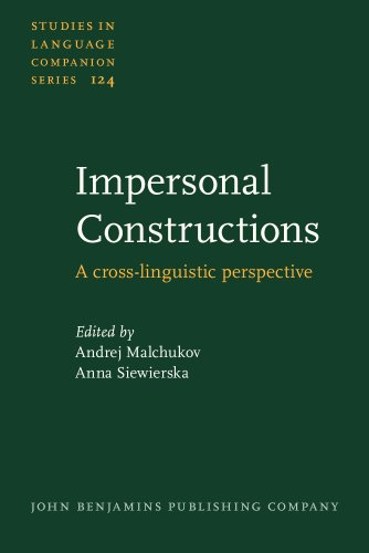 9789027205919: Impersonal Constructions: A Cross-Linguistic Perspective (Studies in Language Companion Series, Vol. 124)