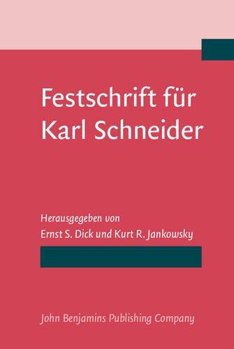 9789027220110: Festschrift für Karl Schneider