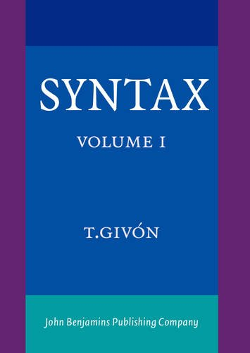 9789027225771: Syntax: An Introduction. Volume I (Vol I)