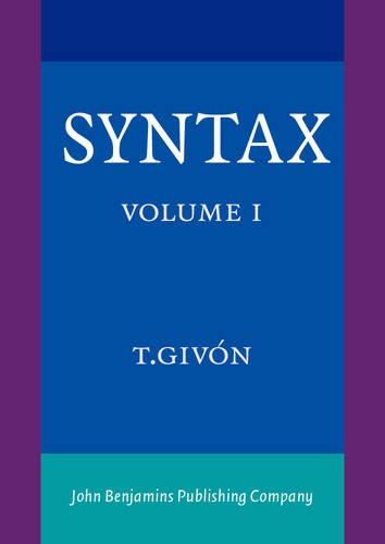 9789027225788: Syntax: An Introduction. Volume I (Vol I)