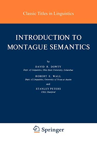 9789027711427: Introduction to Montague Semantics (Synthese Language Library)
