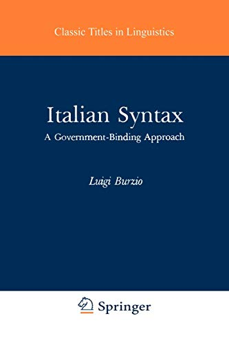 9789027720153: Italian Syntax: A Government-Binding Approach (Studies in Natural Language and Linguistic Theory)