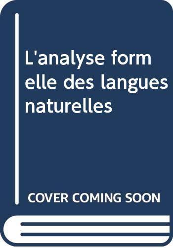9789027967923: L'analyse Formelle Des Langues Naturelles