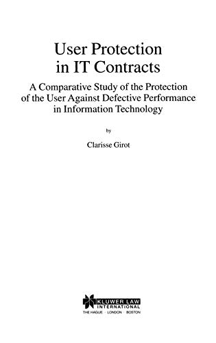9789041115485: USer Protection in It Contracts, A Comparitive Study (LAW AND ELECTRONIC COMMERCE)