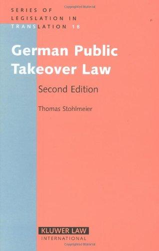 9789041125125: German Public Takeover Law (Series of Legislation in Translation)