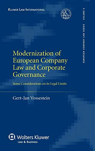 9789041125927: Modernisation of European Company Law and Corporate Governance