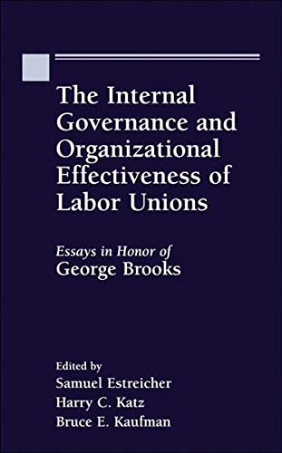 9789041188687: The Internal Governance and Organizational Effectiveness of Labor Unions, Essays in Honor of George W. Brooks