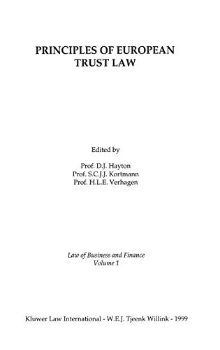 Principles of EUropean Trust Law (Law of: Hayton, David J.,