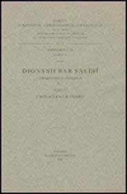Dionysii bar Salibi commentarii in evangelia, I: SedlácekI., ChabotI.-B.,