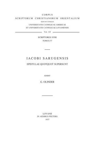 Iacobi Sarugensis epistulae quotquot supersunt: OlinderG.,