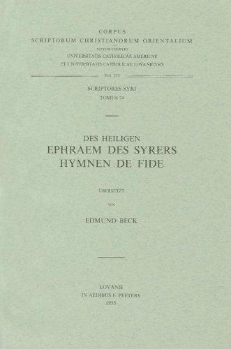 9789042901896: Des heiligen Ephraem des Syrers Hymnen de Fide. Syr. 74. (Corpus Scriptorum Christianorum Orientalium)