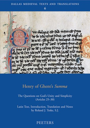 9789042918115: Henry of Ghent's Summa: The Questions on God's Unity and Simplicity (Articles 25-30) (Dallas Medieval Texts and Translations)