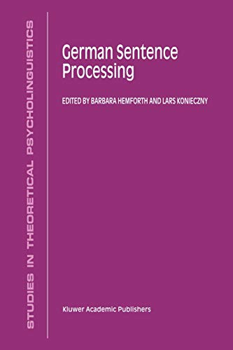 9789048153732: German Sentence Processing (Studies in Theoretical Psycholinguistics)