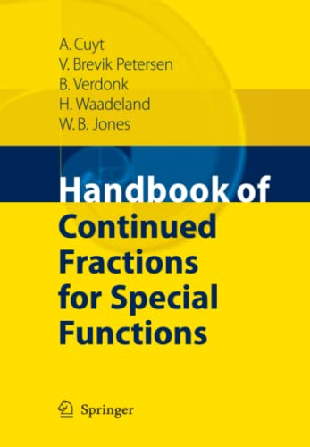9789048177752: Handbook of Continued Fractions for Special Functions