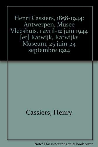 Henri Cassiers 1858 - 1944: OOST, Tony ;