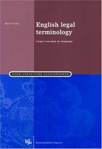 9789054544999: English Legal Terminology: Legal Concepts in Language