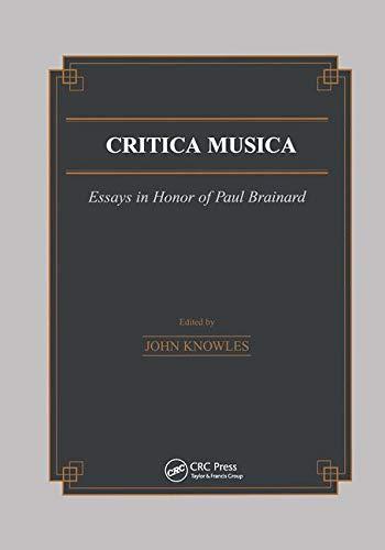 9789056995225: Critica Musica: Essays in Honour of Paul Brainard (Musicology)