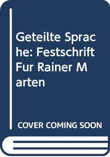 9789060323144: Geteilte Sprache: Festschrift für Rainer Marten (German Edition)
