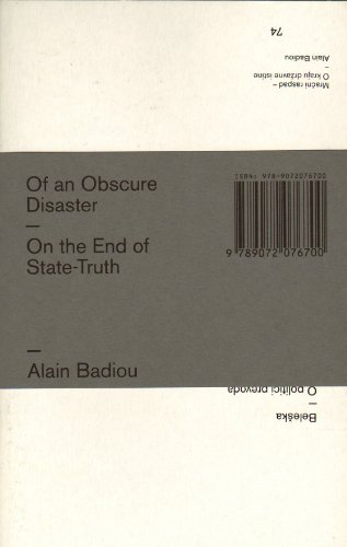 9789072076700: Of An Obscure Disaster - Alain Badiou