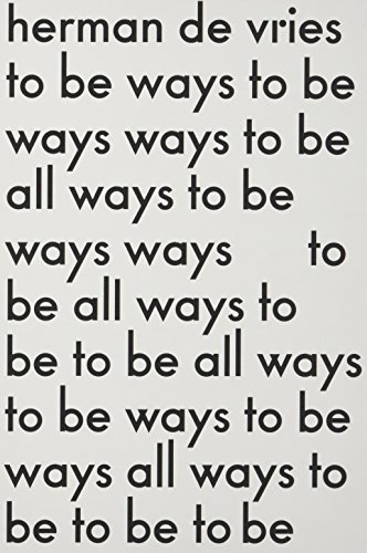 9789078088998: Herman De Vries: To Be All Ways to Be