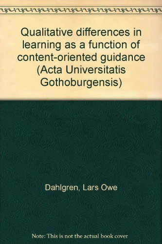 Qualitative differences in learning as a function of content-oriented guidance (Acta Universitatis ...