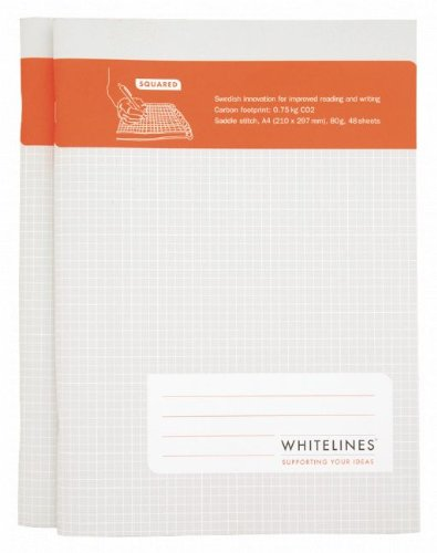9789186177577: Whitelines Saddle Stitch A4 Squared Notebook (2 pack): Supporting your ideas