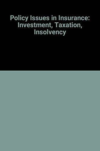 9789264147874: Policy Issues in Insurance: Investment, Taxation, Insolvency
