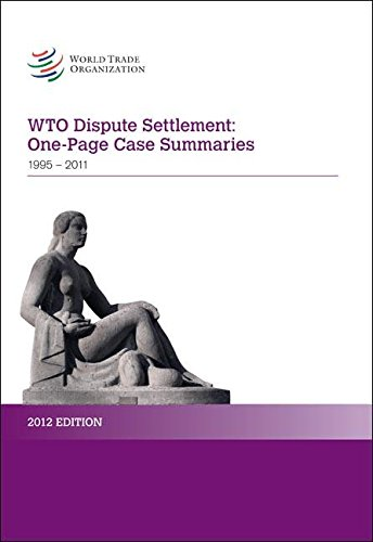 9789287038289: WTO Dispute Settlement: One-Page Case Summaries: 1995 - December 2011