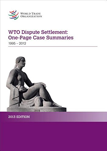 9789287039354: WTO Dispute Settlement: One-page Case Summaries