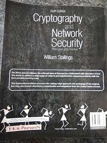 9789332518773: Cryptography and Network Security: Principles and Practice 6th Ed. by Stallings (International Softcover Edition)