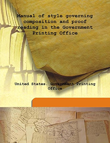 9789333147668: Manual of style governing composition and proof reading in the Government Printing Office
