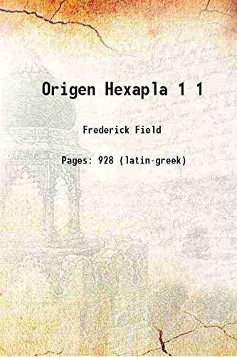 9789333361804: Origen Hexapla Volume 1 1875 [Hardcover]