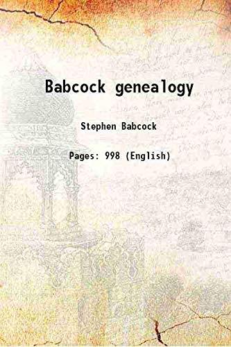 9789333368056: Babcock genealogy 1903 [Hardcover]