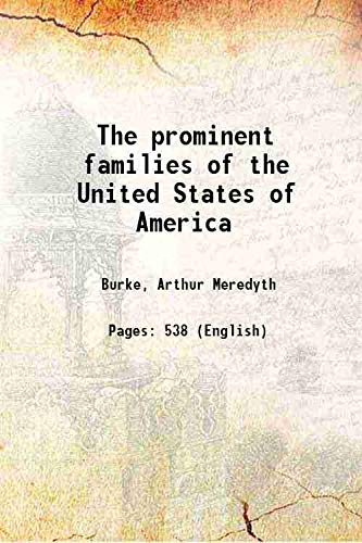 9789333376426: The prominent families of the United States of America 1908 [Hardcover]