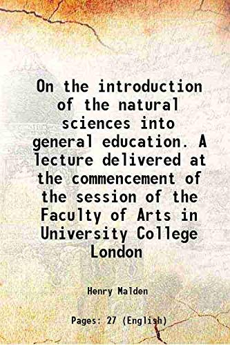 On the introduction of the natural sciences: Henry Malden
