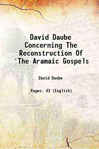 9789333612814: David Daube Concerning The Reconstruction Of 'The Aramaic Gospels 1945 [Hardcover]