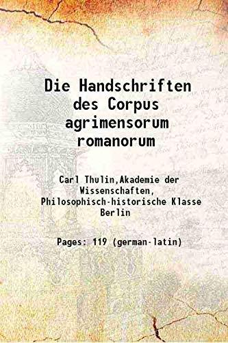 9789333628808: Die Handschriften des Corpus agrimensorum romanorum 1911 [Hardcover]