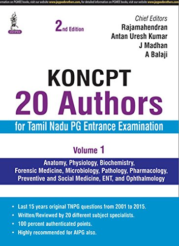 KONCPT: 20 Authors for Tamil Nadu PG Entrance Examination (Second Edition), Volume 1: Rajamahendran...