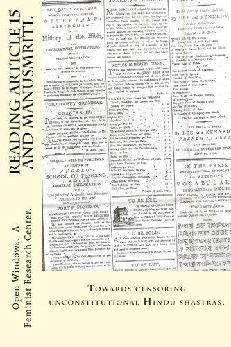 Reading Article 15 and Manusmriti.: Towards Censoring: Open Windows a