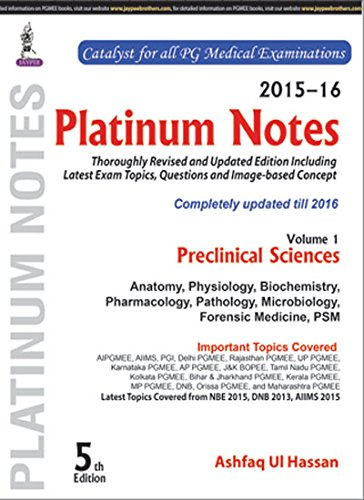 Platinum Notes: Preclinical Sciences (2015-